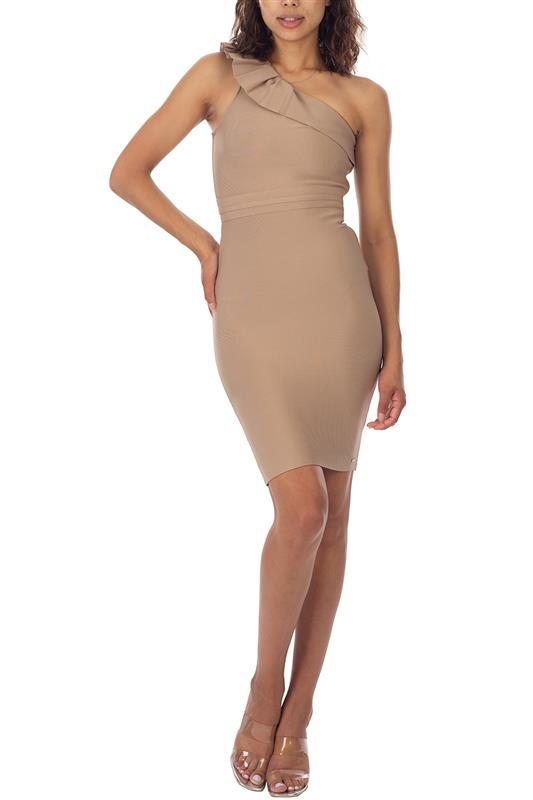 CERLIA: Assymmetric One Shoulder Bandage Dress