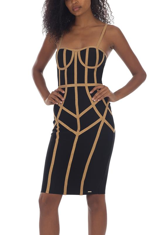 BARI: Bandage Contrast Gold/Black Dress With Cups