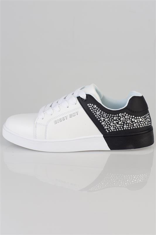 Splitting Colour - Black And White Diamante Sneaker