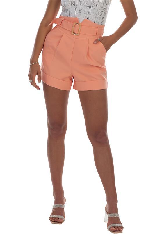 Girl Boss: High Waist Shorts With Buckle Detailing - SET