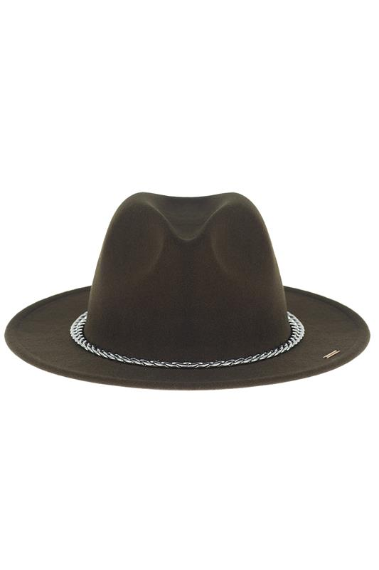 Fedora Hat With Chain Detail