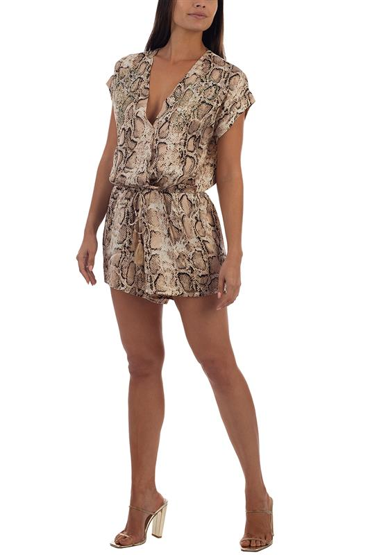 TAGO: Animal Print Playsuit With Beading