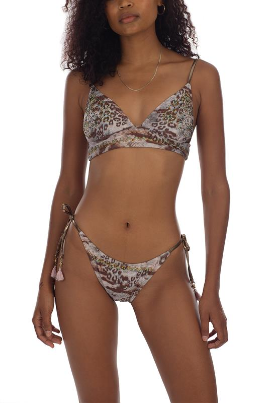 MAO: All Over Print  Bikini Top With Beading