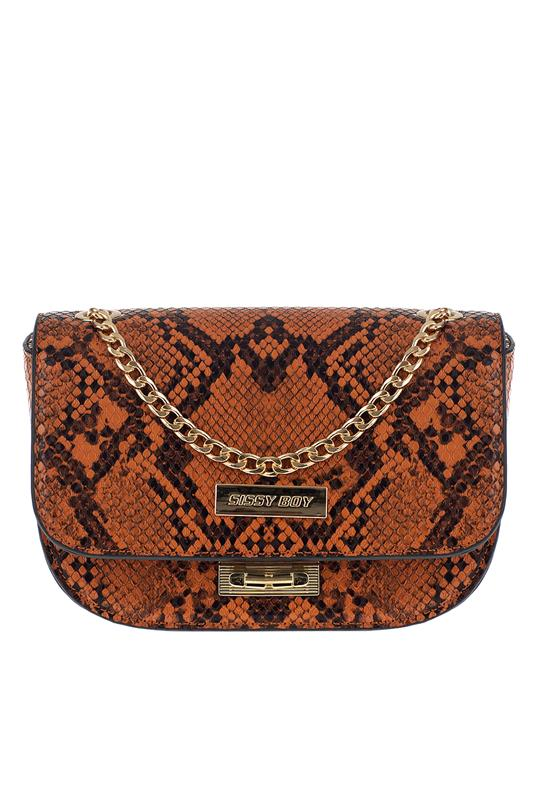 Francesca Snake Double Gold Chain Mini Bag