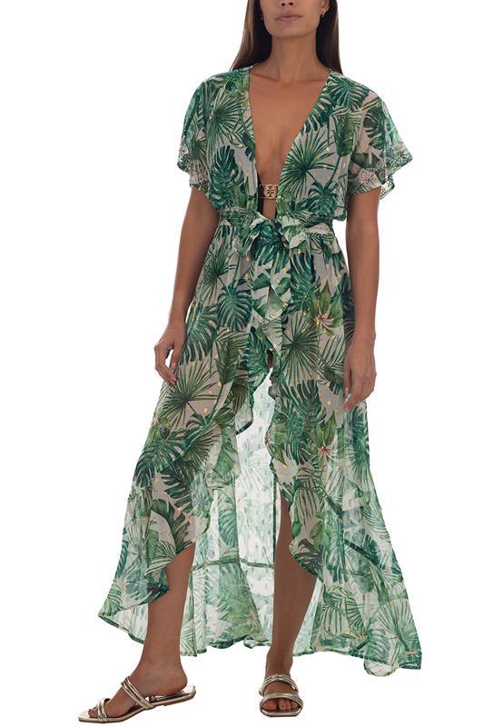 PALM SPRING: Tropical Print Cover Up Dress