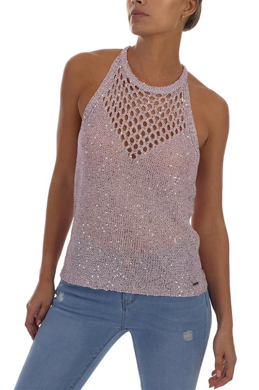TIVOLI: Sequin Lurex Fashion Halter Vest