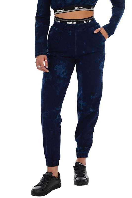 Athleisure Knit Track Pants  Tie Dye  Wash