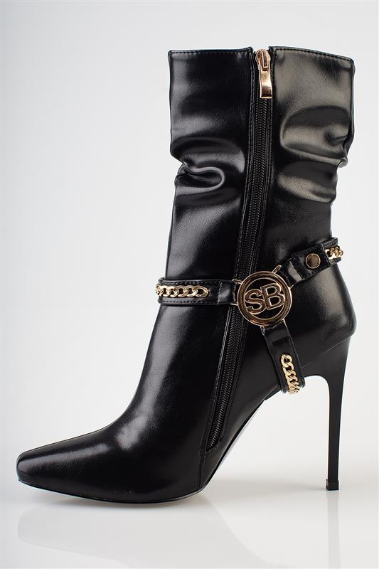 Heel The Chain - Gold Hardware Harness Boot