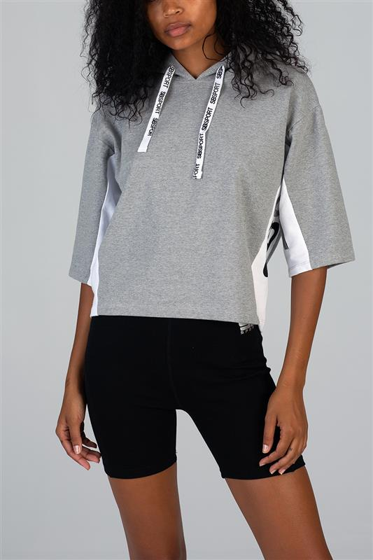 Sissyboy Sport: Crop Hoody With Short Sleeves