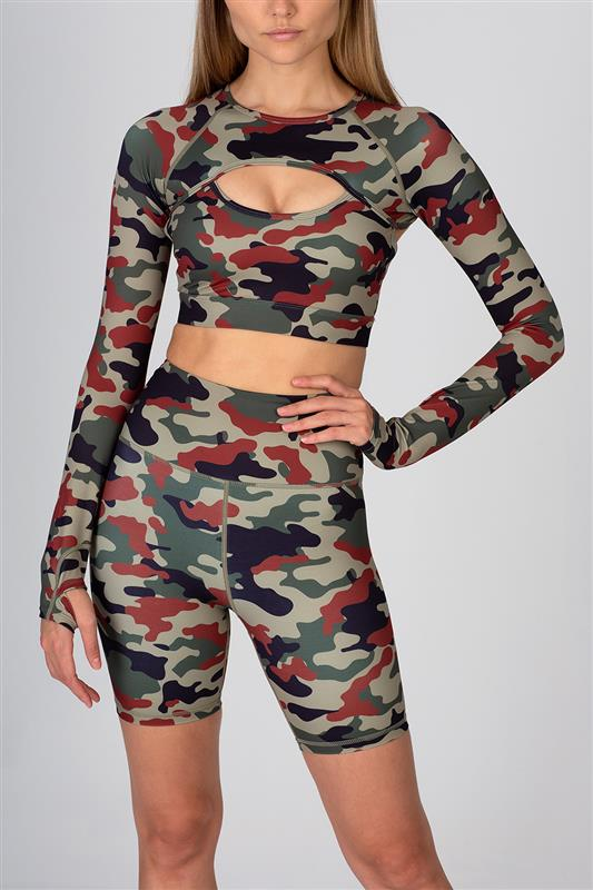 Sissyboy Sport: Camo Printed Long Sleeve Crop