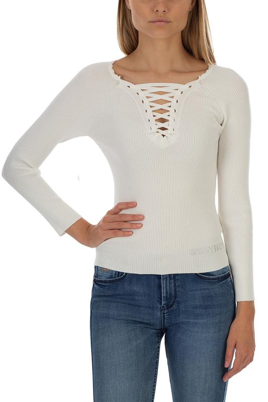 REGINA: Lace Up Front Knit With Small Bling Logo and neck detailing