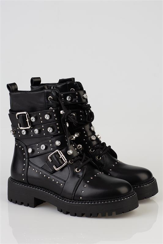 Bling The Changes - Grunge Boot With Studs And Diamonds