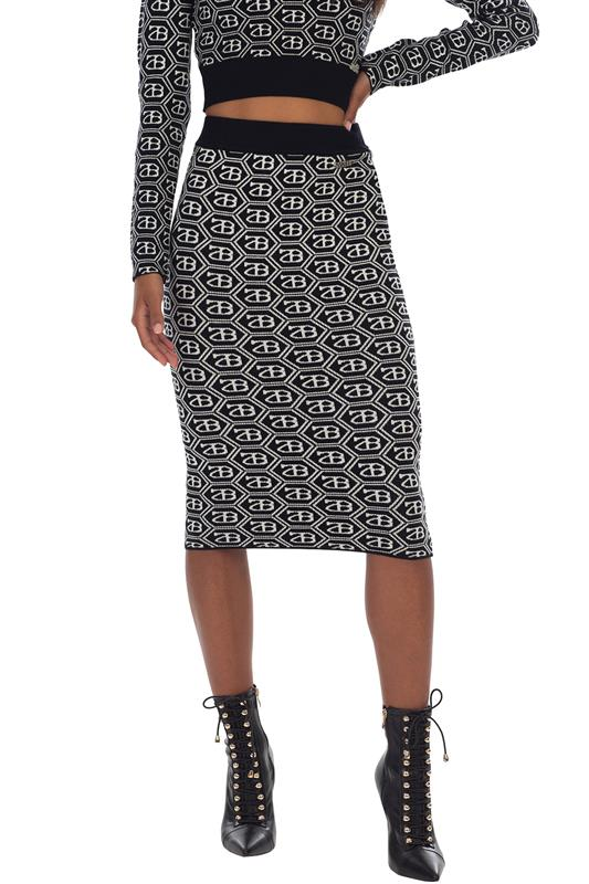 SIENNA: All Over Repeat Logo Knit Skirt