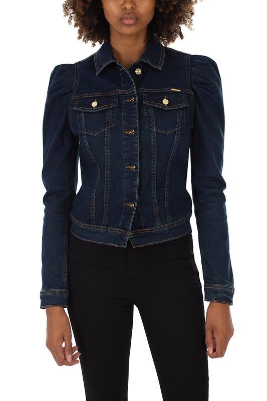 Show Off:Denim Jacket With Puff Sleeve dk vintage
