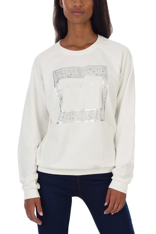 MARNIE: Basic crew neck sweater with mixed bling and foil print logo