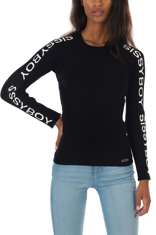 JONESY: Basic Crew Neck Knit With Logo Along Long Sleeves