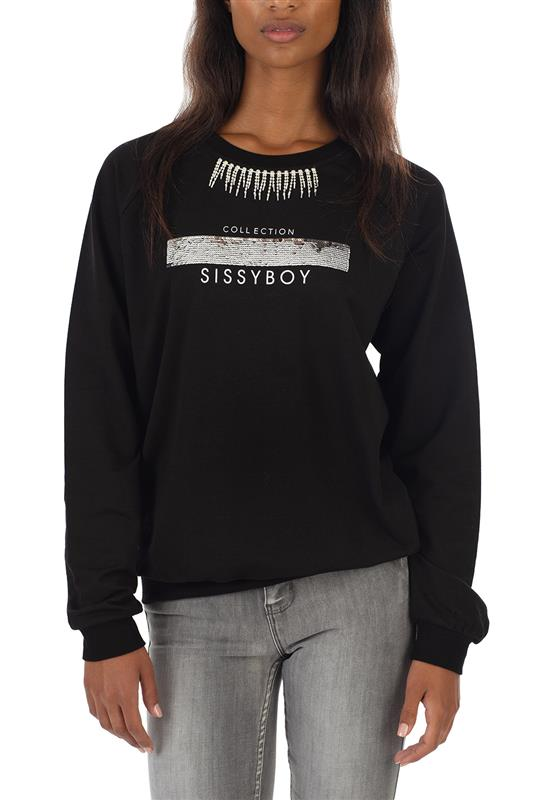 THUNDERBOLT: Basic crew neck sweater with neck bling trim, interactive sequin and print logo