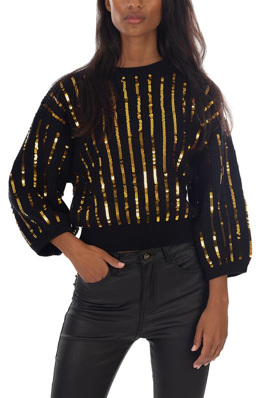 FIELDS OF GOLD: Sequined Knit Sweater With Long Sleeves