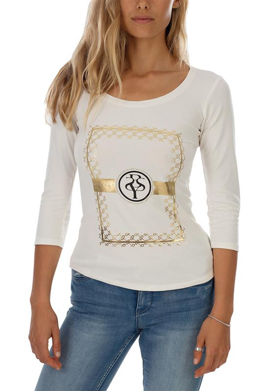 SITTING PRETTY: Basic round neck top with 3/4 sleeves and mixed bling/print logo