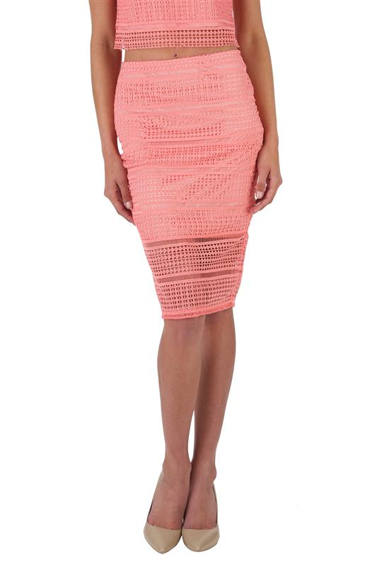 Mixed Emotions: Coral Crochet skirt